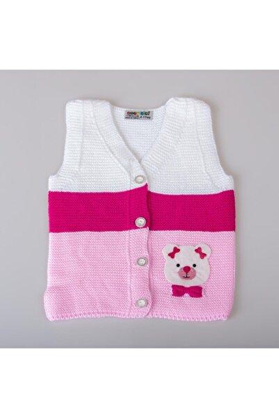 POKY BEBE Kız Bebek Renkli Ayıcık Desenli Düğmeli Triko Yelek-428