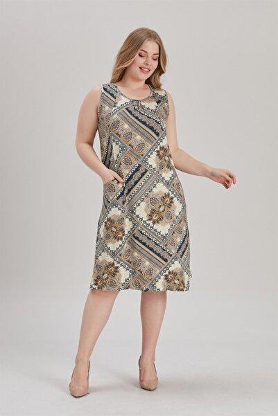 MİHRAMOR Kadın Büyük Beden Cepli Desenliı Elbise Krem