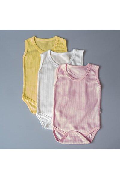 POKY BEBE Poky Kız Bebek Askılı Body Zıbın Çıtçıtlı Fitil Desen 3'lü