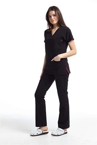 Çatı Medikal Ultralycra Spaniard - Doktor Hemşire Forma Takımı (KADIN), Siyah