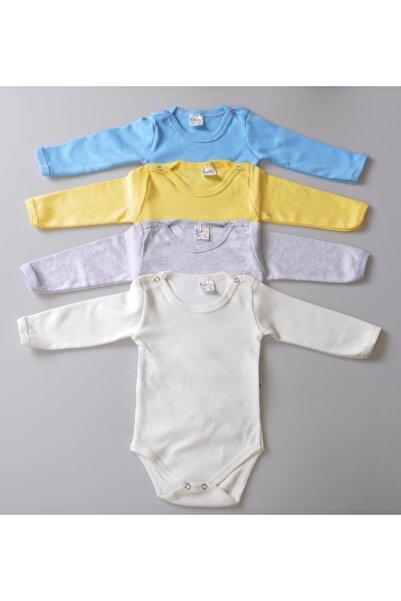 POKY BEBE 4'lü Erkek Bebek Çocuk Karışık Renk Uzun Kollu Çıtçıtlı Body Zıbın-001002005
