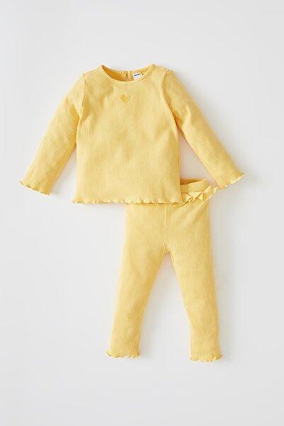 DeFacto Kalp Baskılı Fitilli Uzun Kollu Organik Pamuklu Pijama Takımı