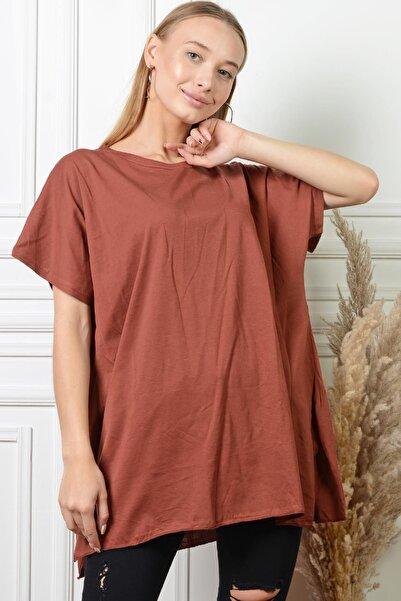PİNKMARK Pınkmark Kadın Büyük Beden Salaş Yırtmaçlı Kiremit Bluz Pmbl25320