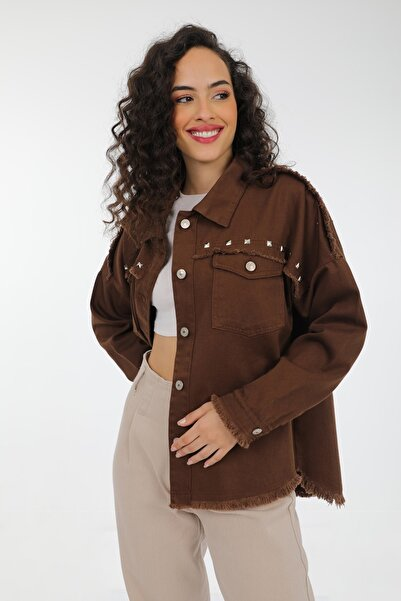 MD trend Kadın Kahve Püskül Detaylı Zımbalı Oversize Kot Jean Ceket