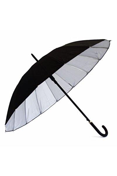 ucuzubizde 16 Telli Dışı Siyah Içi Gümüş Renk Baston Şemsiye Unisex Şemsiye 80 cm