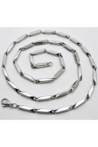 Erkek Çelik Kolye Küp Üçgen Model Zincir Eck05