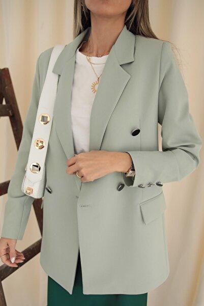 Modayıldızlar Kadın Mint Yeşili Çift Cepli Blazer Ceket