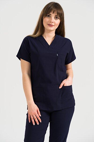 Class Üniforma Unisex Kalıp Lacivert Yarasa Kol Yüksek Pamuk Likralı Hemşire Doktor Forması Cerrahi Nöbet Takımı