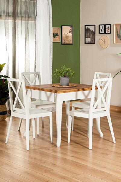 SANDALİE Fiona Beyaz / Dizayn Açılır Masa - 4 Sandalye 1 Masa / Salon - Mutfak Masa Takımı