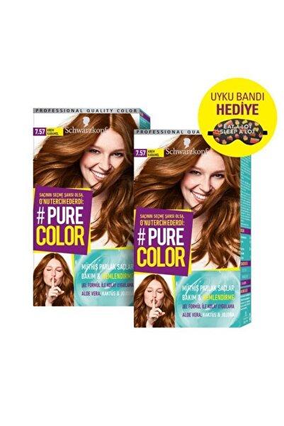 PURE COLOR Saç Boyası 7-57 Krem Karamel X 2 Adet + Uyku Bandı