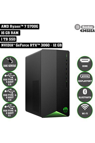 HP Tg01-2019nt Amd Ryzen 7 5700g 16gb Ram 1tb Ssd Rtx3060-12gb Freedos Masaüstü Bilgisayar 434s2ea