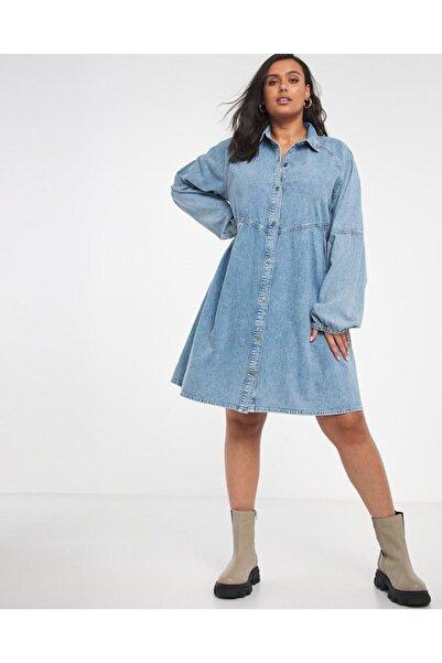 For Big Trend Boydan Düğmeli Yakalı Cepli Yıkamalı Kot Elbise