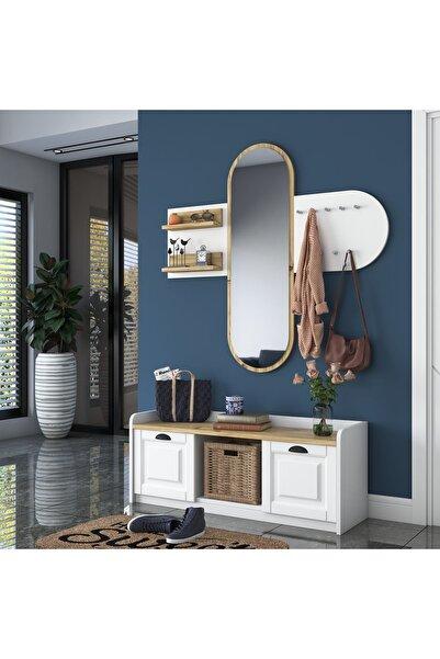 Rani Mobilya Rani Ee101 Aynalı Vestiyer Modern Portmanto Duvar Askısı Ayakkabılık Beyaz Keçe Ceviz