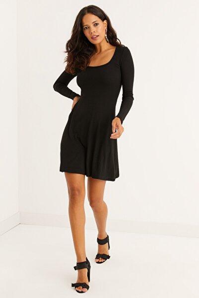 Cool & Sexy Kadın Siyah U Yaka Kaşkorse Mini Elbise EY1308