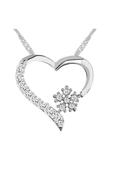 Enesstore 925 Ayar Gümüş Zirkon Taşlı Kar Tanesi Kalpli Bayan Gümüş Kolye