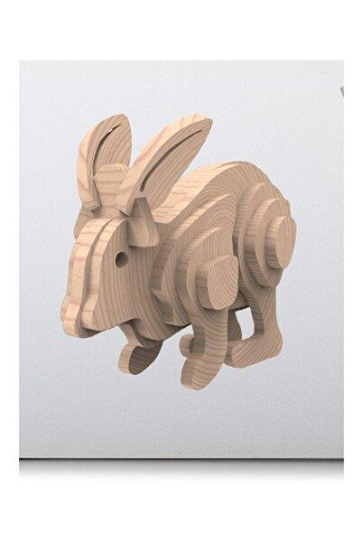 Uçandaire Ahşap 3d Yapboz Puzzle 20 Parça Tavşan