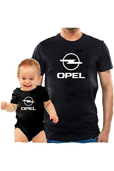 venüsdijital Opel Baba Oğul Siyah Tshirt Zıbın (tekli Üründür Kombin Yapmak Için 2 Adet Sepete Ekleyiniz)