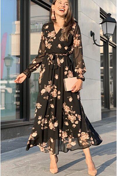 Elbise Delisi Gül Çiçekli Büyük Beden Şifon Elbise