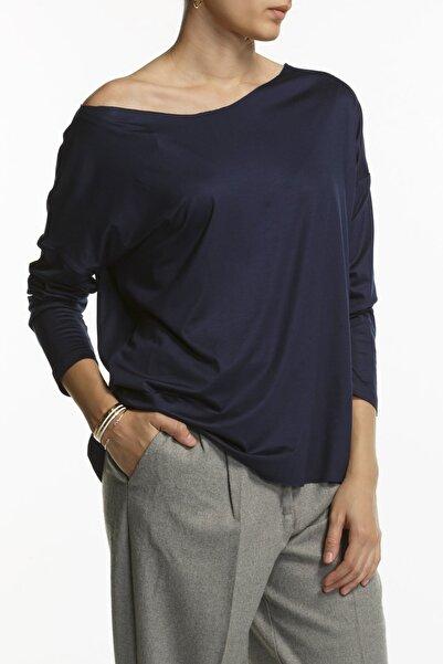 BASIC&CO Eileen Ls Kayık Yaka Lacivert Basic Uzun Kollu T-shirt