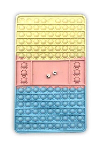 OKFİS Pop It Stres Oyuncak Tavla Ve Satranç Pastel Büyük Boy 30x18cm 114 Baloncuklu