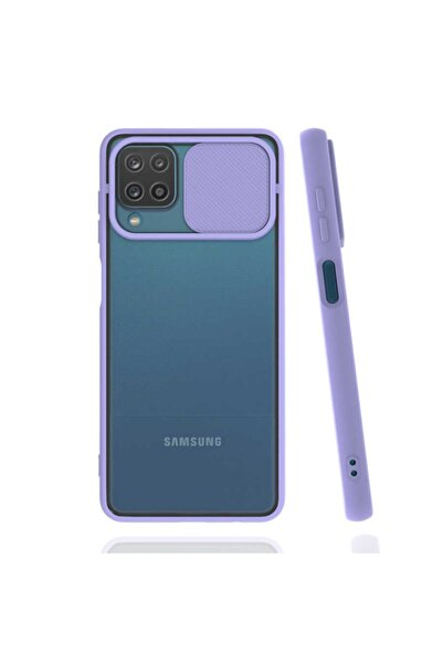 Samsung Galaxy A12  Kaydırma Kapaklı Kamera Koruyucu Mat Renkli Slikon Kapak