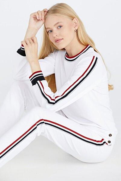 Sementa Şerit Çizgili Kadın Eşofman Takımı - Beyaz
