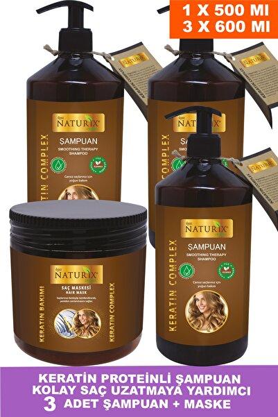 Naturix Tuzsuz Keratin Şampuan 3 Adet 600 Ml Onarıcı Bakım Şampuanı + 500 Ml Keratin Bakım Maskesi
