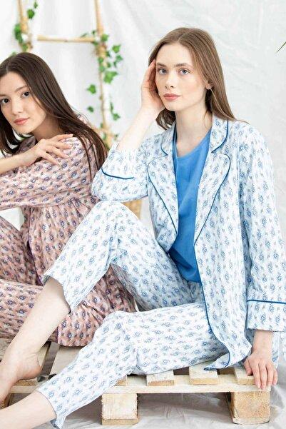 Sementa Kadın Mavi Sabahlıklı Desenli Üçlü Pijama Takım