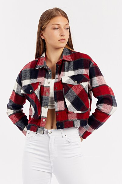Manche Kırmızı Kadın Crop Cepli Ceket