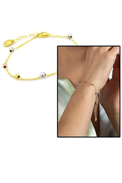 Tesbihane Zarif Tasarım Gold Renk 925 Ayar Gümüş Dorika Kadın Bileklik