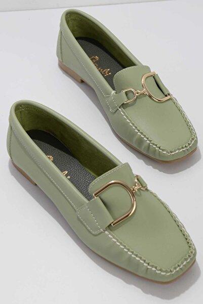 Bambi Yeşil Kadın Loafer Ayakkabı K01542030509