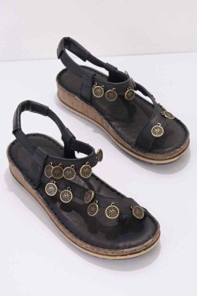 Bambi Siyah Hakiki Deri Kadın Sandalet K05809987203