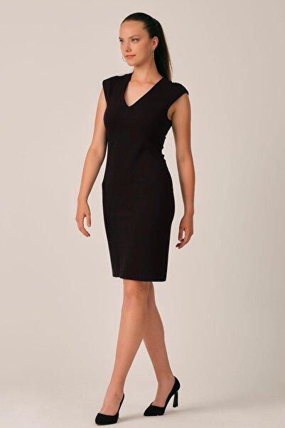 ALEXANDERGARDI Kadın Siyah V Yaka Kalem Elbise (b20-156401)