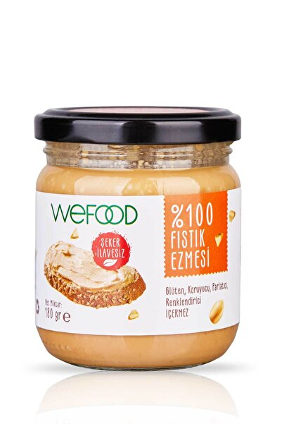 Wefood Şekersiz Sade %100 Fıstık Ezmesi 180 gr Küçük Boy