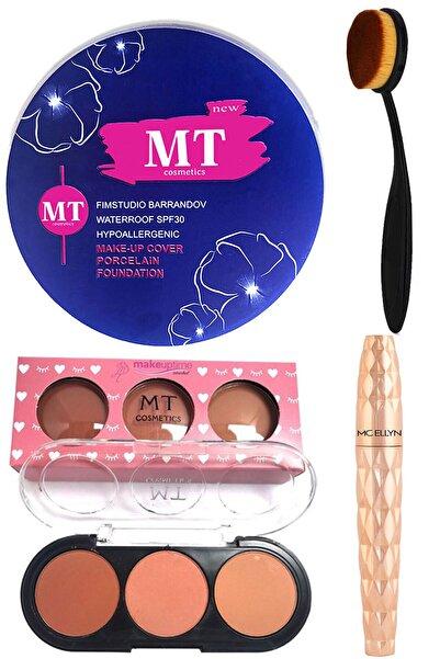 Makeuptime Porselen Fondöten 3'lü Mat Allık Rimel Ve Kaşık Fırça Makyaj Seti