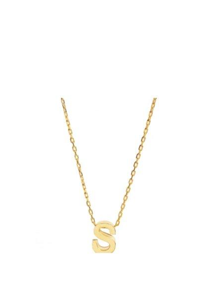 Şimal Silver 925 Ayar Gümüş Sarı S Harf Kolye