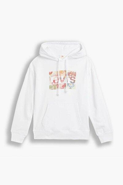 Levi's Kadın Graphic Standart Kalıp Beyaz Kapüşonlu Sweatshirt