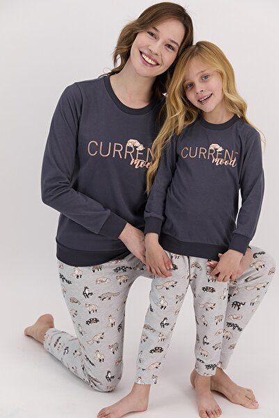 Arnetta Kadın Uzun Kol Current Yazılı Pijama Takımı Anne Kız Kombin Yapılabilir Fiyatları Farklıdır