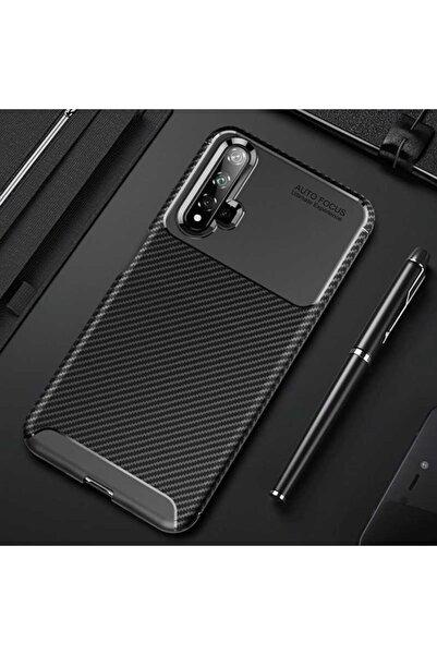 Huawei Rotaks Nova 5t Kılıf Karbon Tasarım Parmak Izi Yapmaz Dayanıklı Silikon Negro