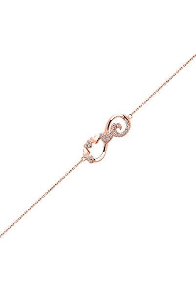 So CHIC... Kalp Figürlü 18 Ayar Rose Altın Kaplama 19 Cm Gümüş Sonsuzluk Bileklik