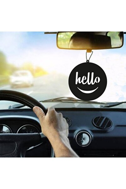 RetroLazer Araba Süsü Hello Dikiz Aynası Süsü Ahşap