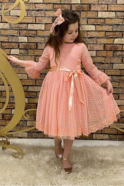 Mnk Garson Boy Somon Dantel Tokalı Kız Çocuk Elbise