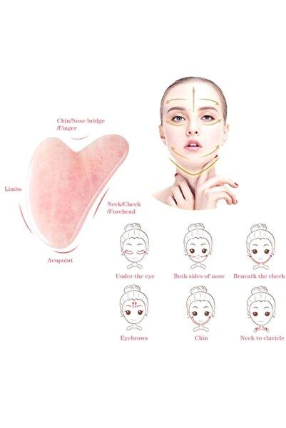 3 Pembe Kuvars Gua Sha Yüz Vücut Masaj Taşı Doğal Taş Yüz Bakımı