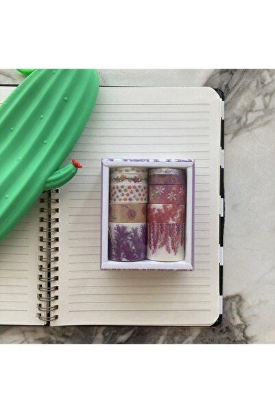 Şeker Ofisi Washi Tapes Desenli Bantlar Mor Çiçekler 10'lu