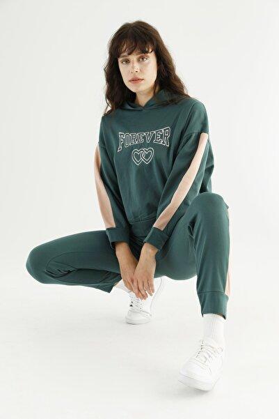 Siyah İnci Yeşil Kapişonlu Eşofman-sweatshirt Takım