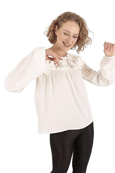 Modagusto Dantel Detaylı Beyaz Bluz