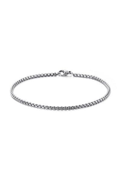 MedBlack Jewelry Gümüş Renk Ince Unisex Örme Zincir Bileklik