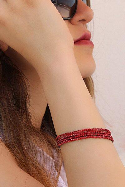 TAKIŞTIR Kırmızı Renk Taş Lastikli Bileklik