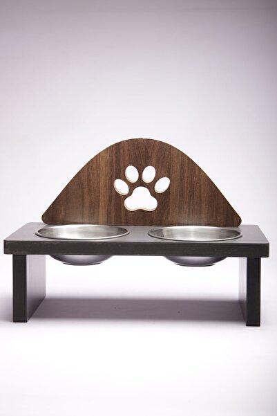 MiniHediye Mama Kabı Pati Desenli Ahşap Çelik Kaseli Kedi Köpek Mama Ve Su Kabı