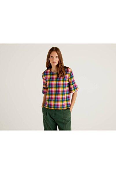 United Colors of Benetton Kolu Fırfırlı Ekoseli Tshirt